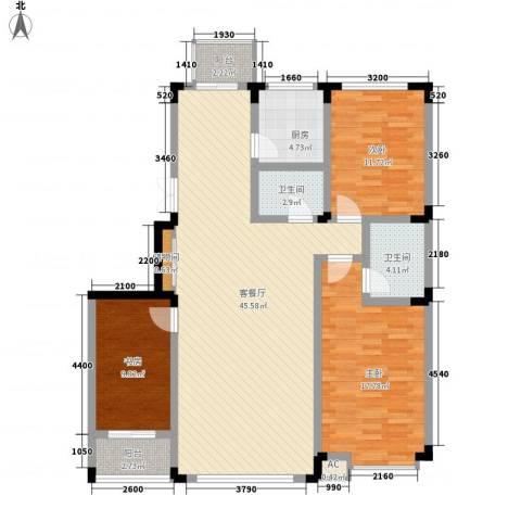 剑桥园3室1厅2卫1厨136.00㎡户型图