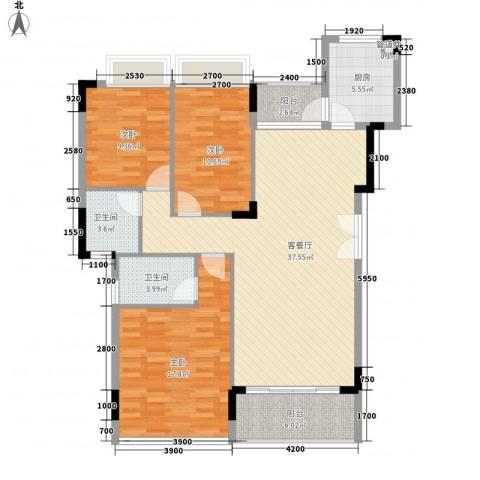 金地格林小城3室1厅2卫1厨119.00㎡户型图