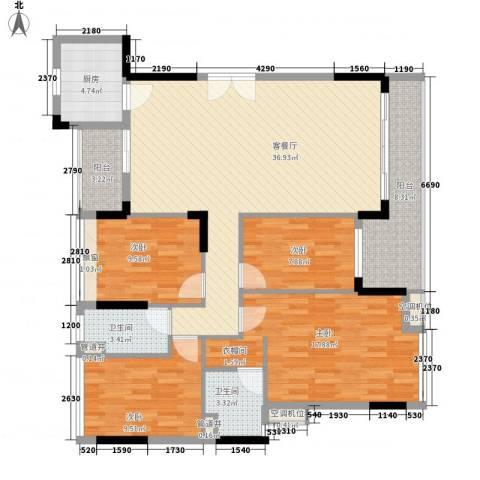 金地格林小城4室1厅2卫1厨150.00㎡户型图