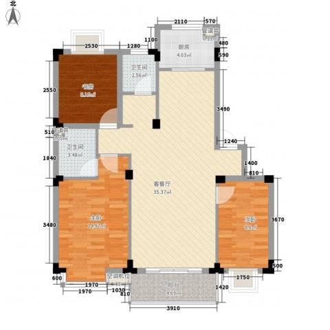 洪都花园3室1厅2卫1厨117.00㎡户型图