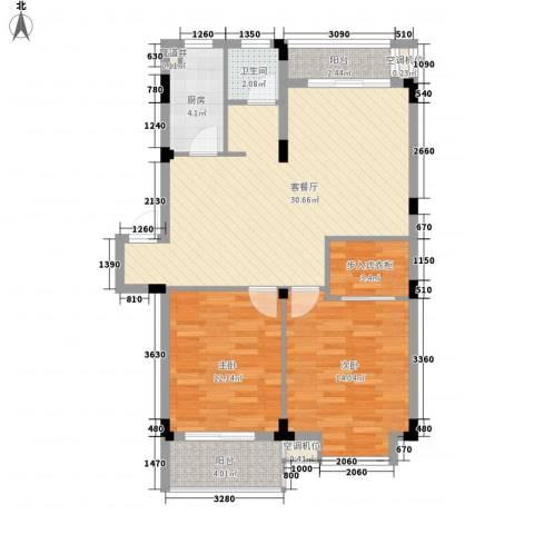 洪都花园2室1厅1卫1厨73.63㎡户型图