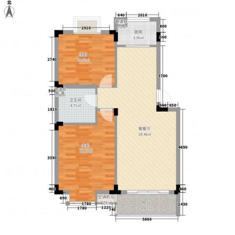 洪都花园2室1厅1卫1厨70.14㎡户型图