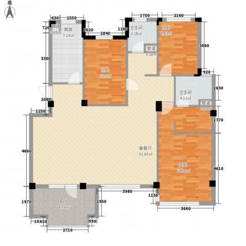 万科假日风景3室1厅2卫1厨137.00㎡户型图