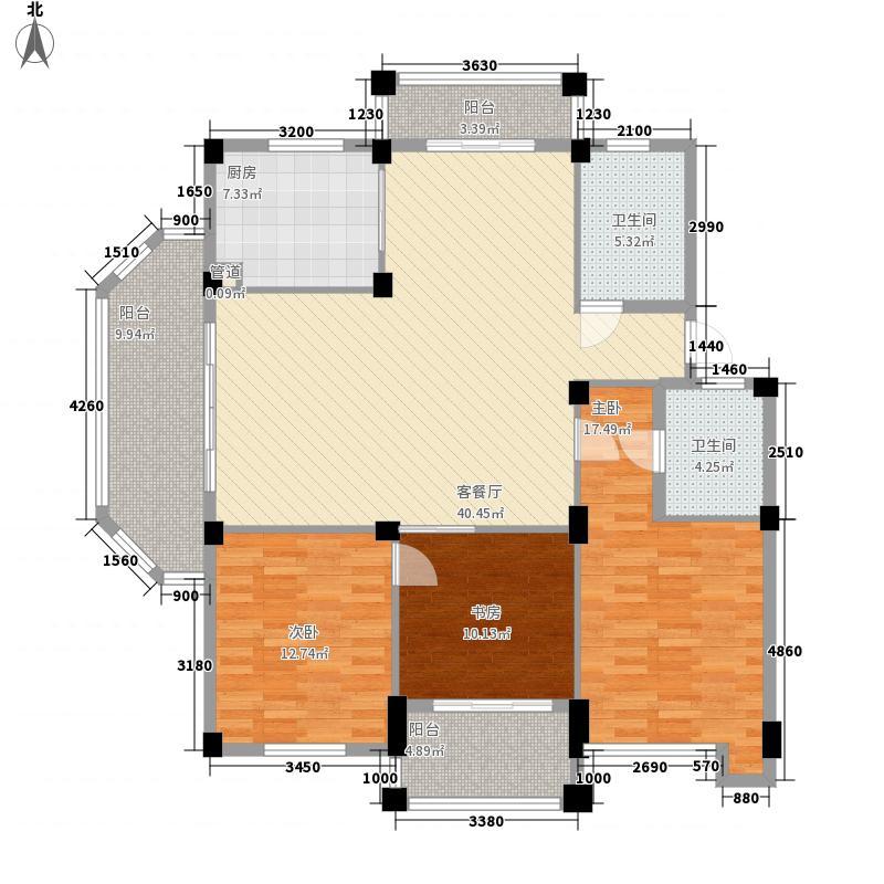 荣安蝶园户型2室2厅1卫1厨