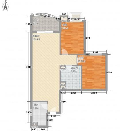 �泰大厦2室1厅1卫1厨87.00㎡户型图