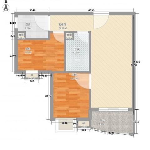 �泰大厦2室1厅1卫1厨73.00㎡户型图