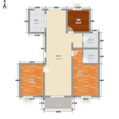 星鑫家园3室1厅2卫1厨139.00㎡户型图