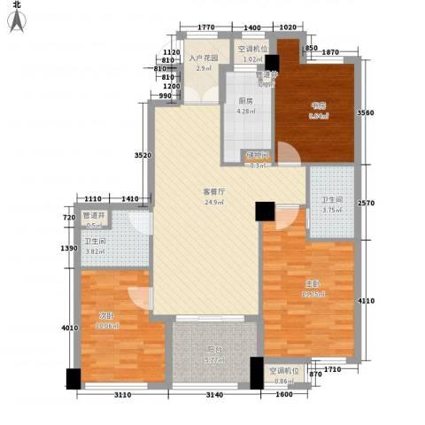 迪赛明天广场3室1厅2卫1厨118.00㎡户型图