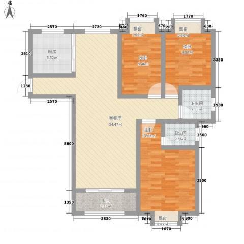 和园小区3室1厅2卫1厨122.00㎡户型图