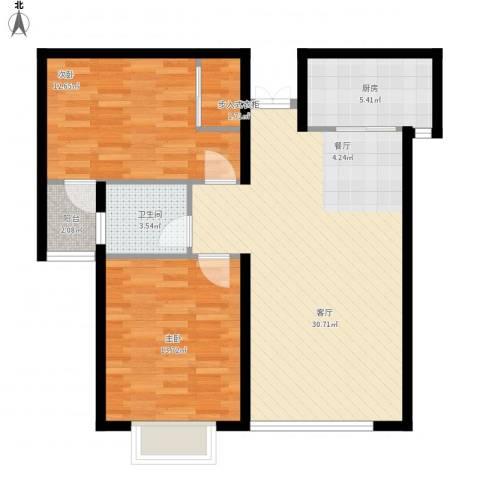 滨海国际2室1厅1卫1厨98.00㎡户型图