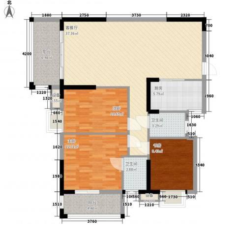 新城国际3室1厅2卫1厨119.00㎡户型图