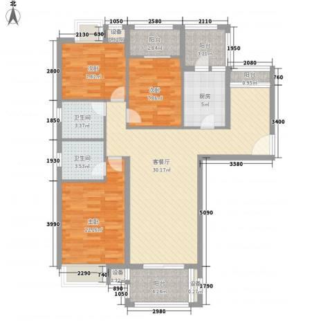 银江花园3室1厅2卫1厨120.00㎡户型图