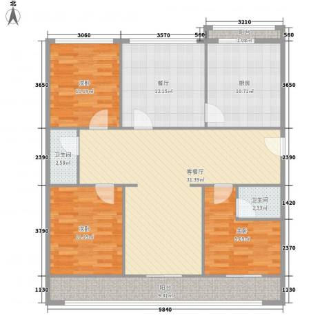 天鑫家园一期3室2厅2卫1厨137.00㎡户型图
