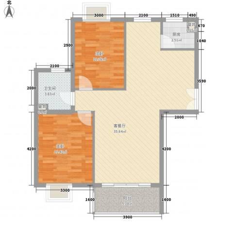 世纪星城・长城国际2室1厅1卫1厨103.00㎡户型图