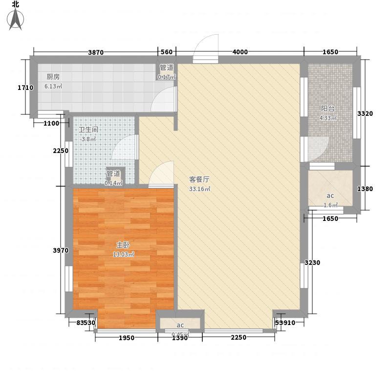 水玉翠源1室户型1室2厅1卫1厨