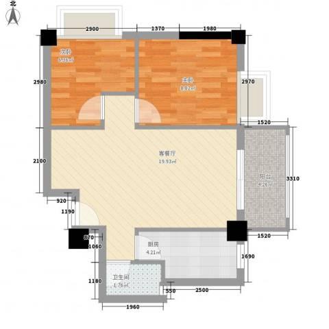 亿力悦海2室1厅1卫1厨64.00㎡户型图