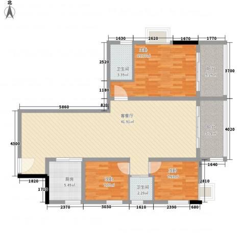 茂名坊3室1厅2卫1厨135.00㎡户型图