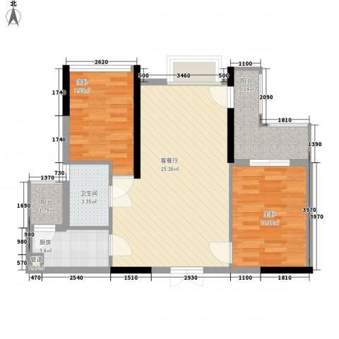 山畔阳光2室1厅1卫1厨82.00㎡户型图