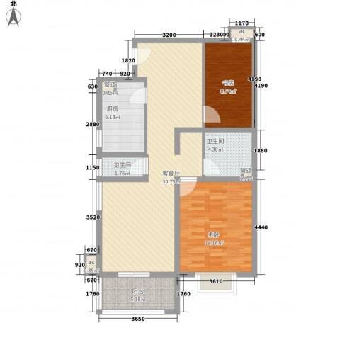 @时代爱特大厦2室1厅2卫1厨84.00㎡户型图