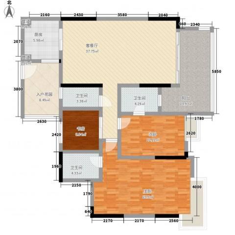 明日华府3室1厅3卫1厨122.46㎡户型图