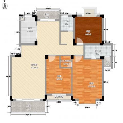 洪都花园3室1厅2卫1厨97.54㎡户型图
