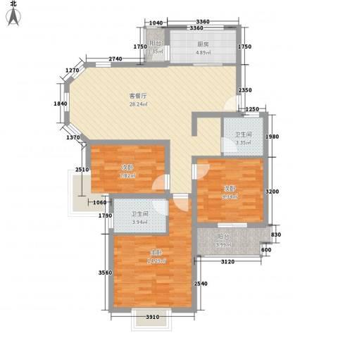绿地南桥新苑3室1厅2卫1厨111.00㎡户型图