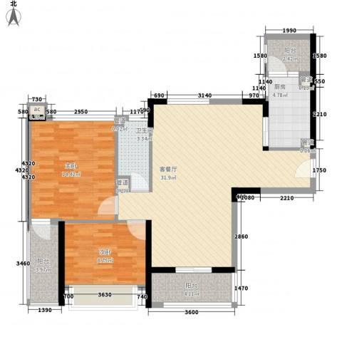 桃源居2室1厅1卫1厨102.00㎡户型图