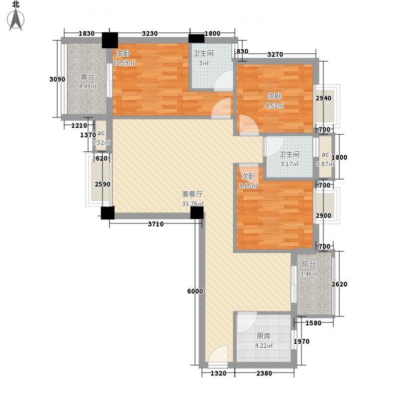 亿力悦海12.57㎡4梯3、6、8、11层04单元户型3室2厅2卫1厨