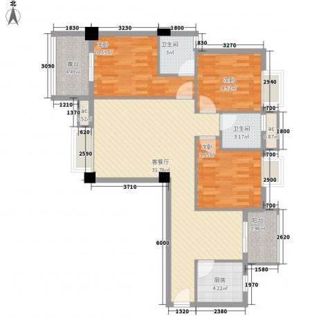 亿力悦海3室1厅2卫1厨79.74㎡户型图
