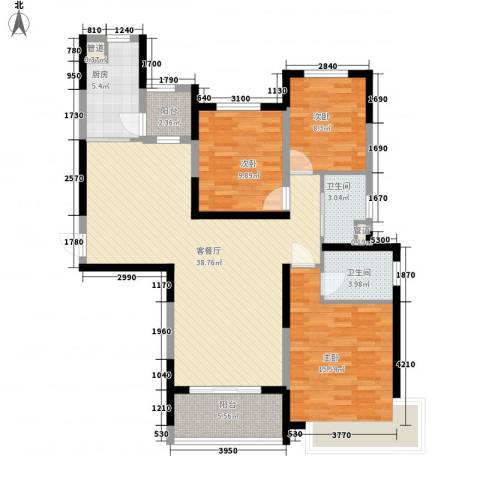 新余恒大城3室1厅2卫1厨134.00㎡户型图