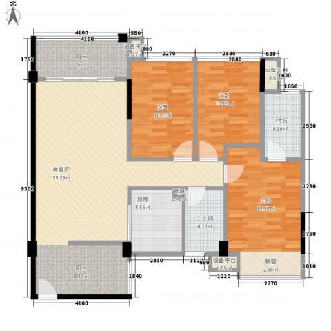 大翼龙苑3室1厅2卫1厨97.46㎡户型图