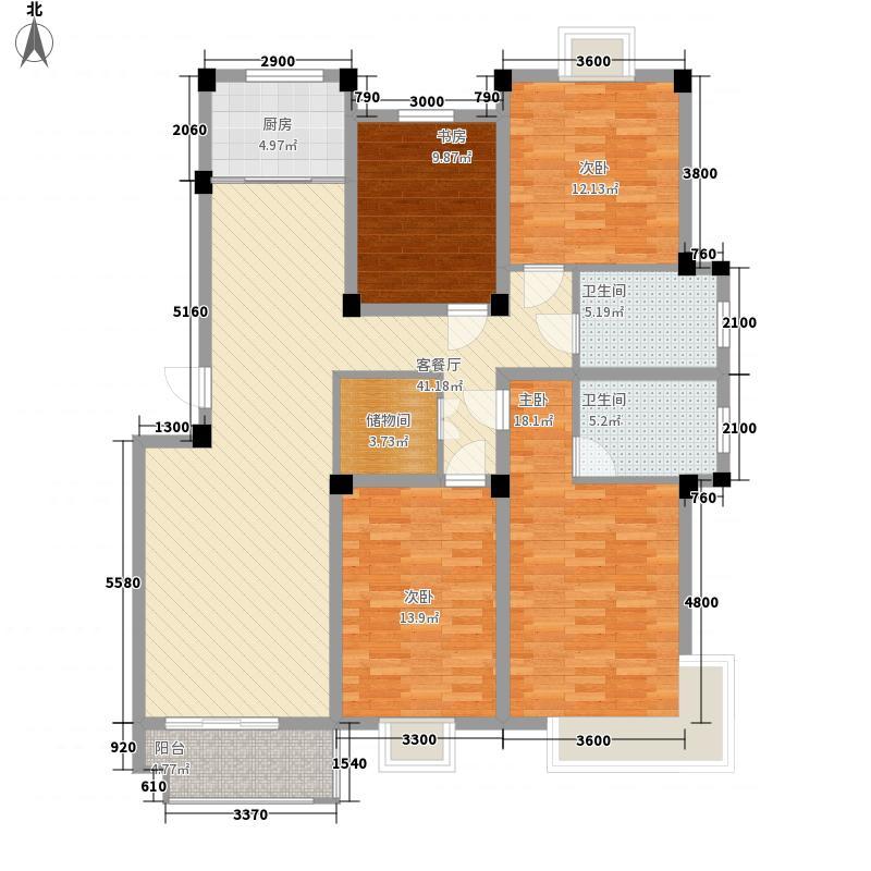 水岸帝景144.40㎡E户型4室2厅2卫1厨
