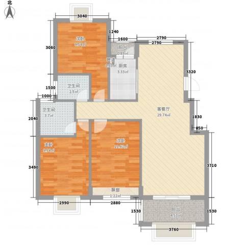 未来海岸3室1厅2卫1厨105.00㎡户型图