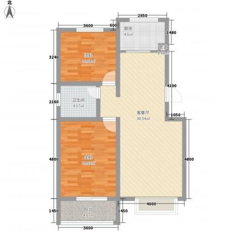 翡翠城2室1厅1卫1厨91.00㎡户型图