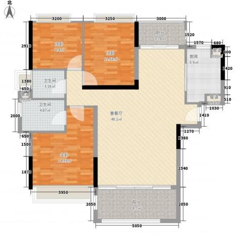 怡翠花园3室1厅2卫1厨111.00㎡户型图