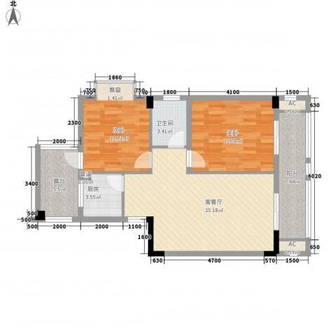 营房南村2室1厅1卫1厨81.02㎡户型图