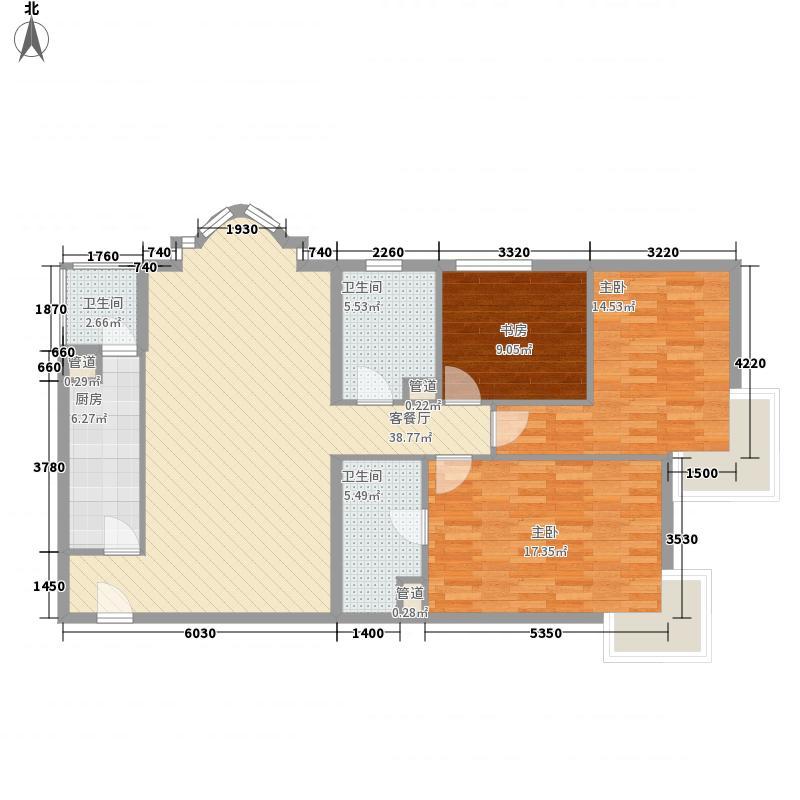 北苑家园133.94㎡01户型3室2厅2卫1厨