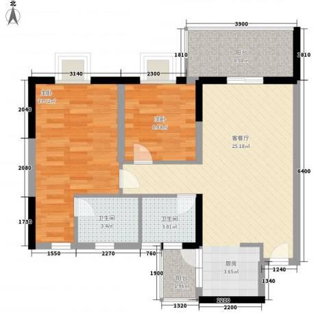 丽景花园三期2室1厅2卫0厨86.00㎡户型图