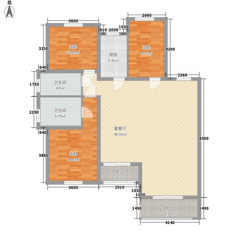 天然理想城二期A1-2户型3室2厅2卫1厨