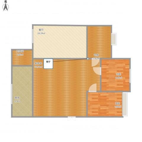 东方新家园3室1厅1卫1厨114.00㎡户型图