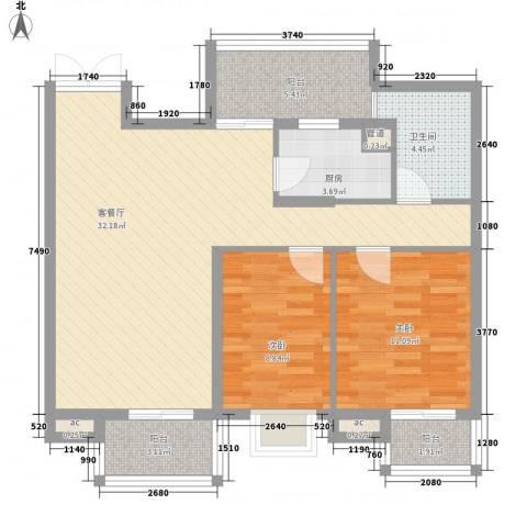 翠微品墅2室1厅1卫1厨102.00㎡户型图