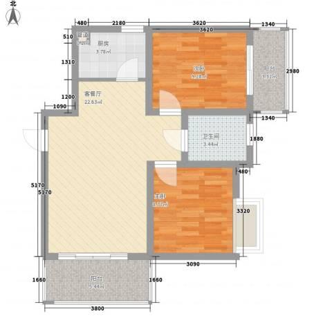 新港名兴花园2室1厅1卫1厨82.00㎡户型图