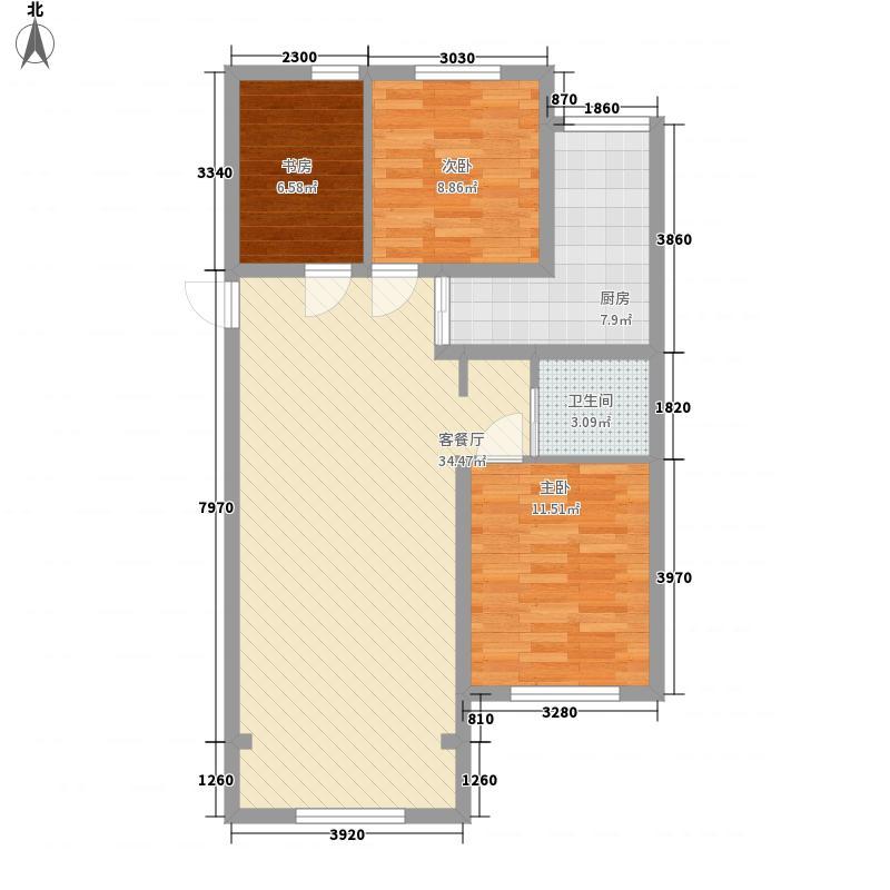 天然理想城二期6.00㎡E3户型3室2厅2卫1厨