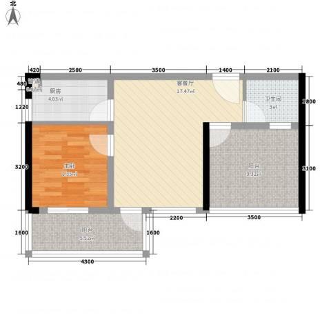 东方海岸1室1厅1卫1厨70.00㎡户型图