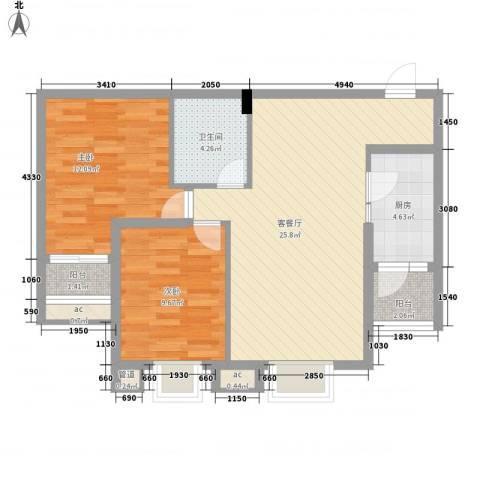 鼎欣城二期2室1厅1卫1厨89.00㎡户型图