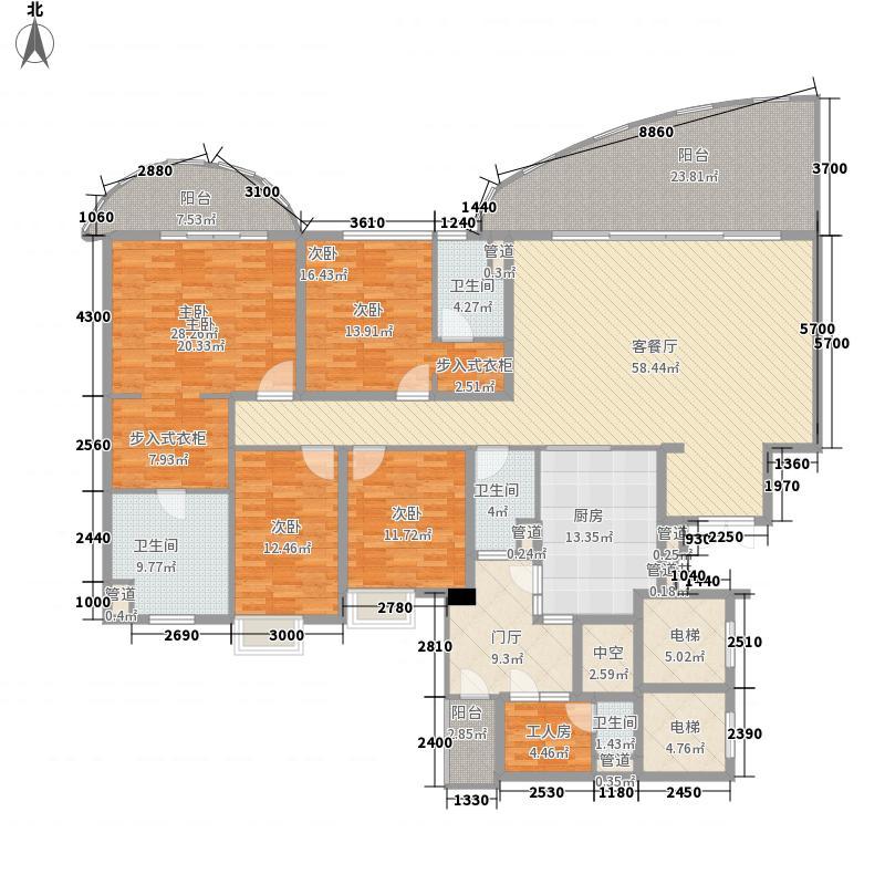 龙湖世纪峰景二期6号楼1、2单元标准层C1户型4室2厅4卫1厨