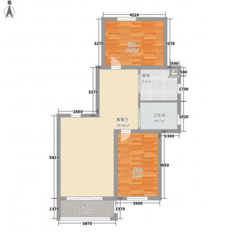高格蓝湾2室1厅1卫1厨98.00㎡户型图