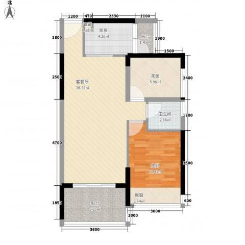 东方海岸1室1厅1卫1厨84.00㎡户型图