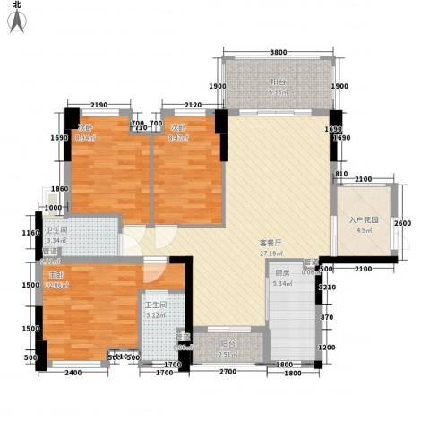 盈拓郦苑3室1厅2卫1厨94.00㎡户型图