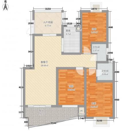 怡和花园3室1厅2卫1厨128.00㎡户型图